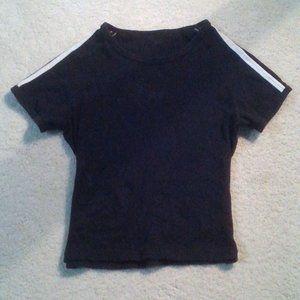 Brandy Melville Two Stripes Black Tee